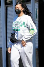 Jordyn Woods in White Comfy Outfit Out in Los Angeles 02/24/2021 10