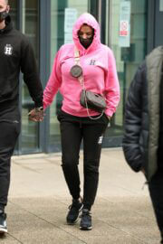 Katie Price in Pink Hoodie Arrives at a Studios in Leeds Dock 03/10/2021 6