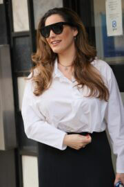 Kelly Brook with fresh look arrives at at Heart Radio in London 02/24/2021 3
