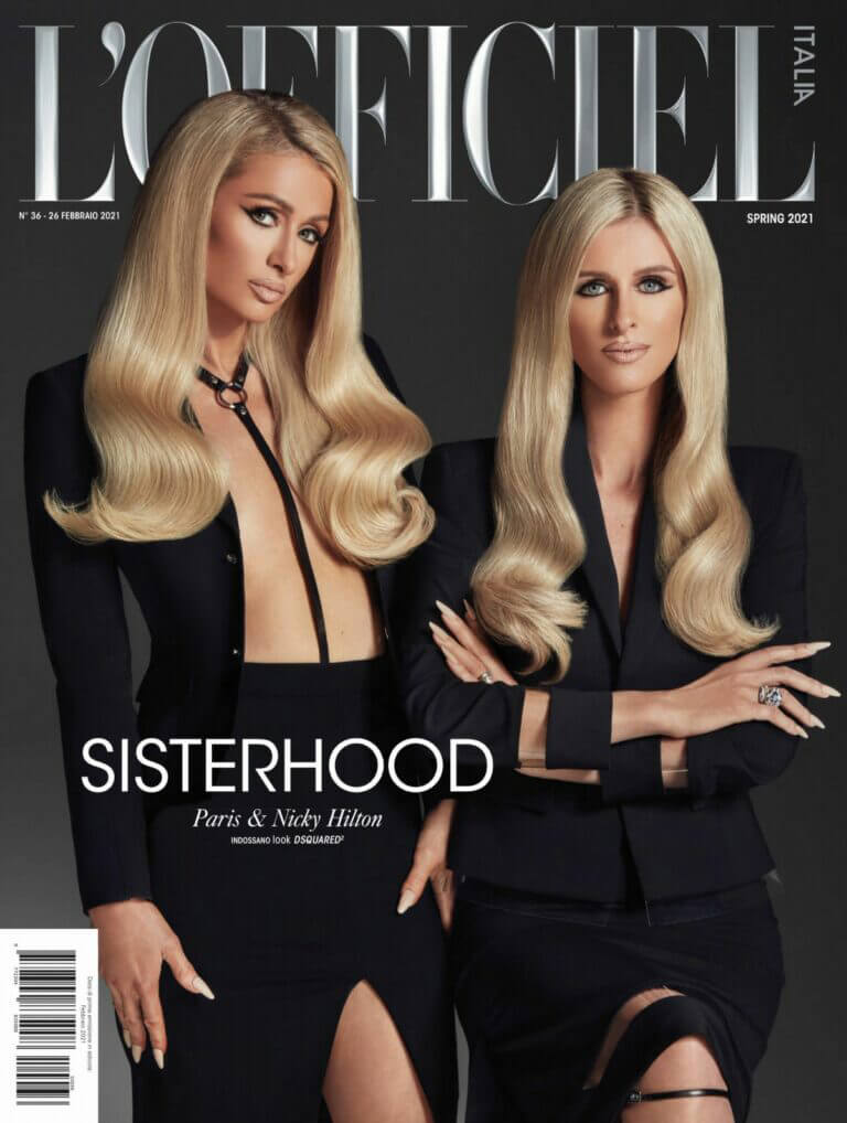 Paris and Nicky Hilton On The Cover Page Of L'Officiel Magazine, Italy Spring 2021 9