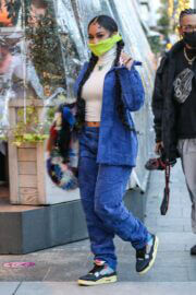Saweetie done Double Denim as She is Out for Dinner at Avra in Beverly Hills 03/10/2021 1