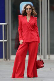 Myleene Klass in Red Arriving at Smooth Radio in London 03/20/2021 5