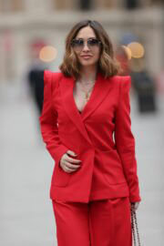 Myleene Klass in Red Arriving at Smooth Radio in London 03/20/2021 6