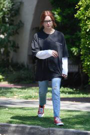 Ashley Benson in Black T-Shirt with Ripped Jeans Out in West Hollywood 06/29/2021 1