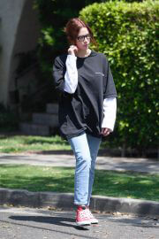 Ashley Benson in Large Black T-Shirt with Ripped Jeans Out in West Hollywood 06/29/2021 2