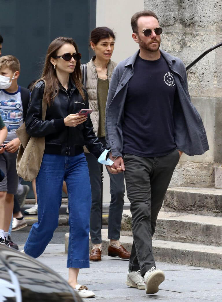 Lily Collins with her Partner Charlie McDowell Out in Paris 06/28/2021 1