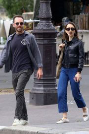 Lily Collins with her Partner Charlie McDowell Out in Paris 06/28/2021 3