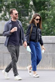 Lily Collins with her Partner Charlie McDowell Out in Paris 06/28/2021 4
