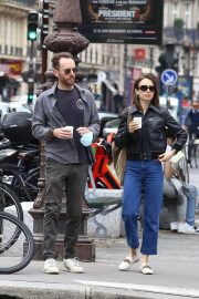 Lily Collins with her Partner Charlie McDowell Out in Paris 06/28/2021 5