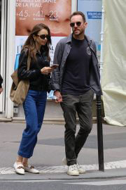 Lily Collins with her Partner Charlie McDowell Out in Paris 06/28/2021 8