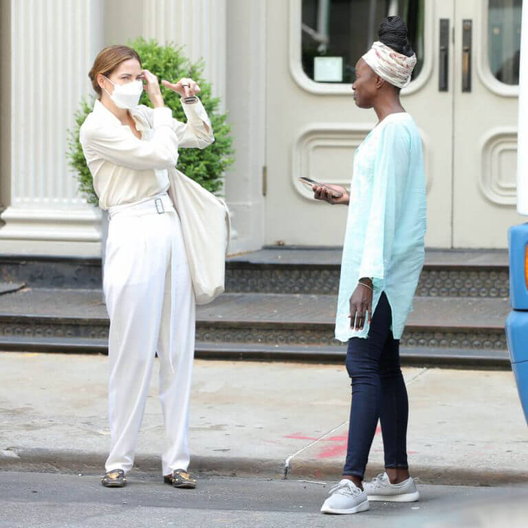 Michelle Monaghan and Anna Diop on the Set of Nanny in New York 06/29/2021 1
