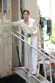 Michelle Monaghan in White Shirt and Pants on the Set of Nanny in New York 06/29/2021 5