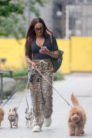 Alexandra Burke in Black Top and Animal Print Bottom Out in London 08/04/2021 3