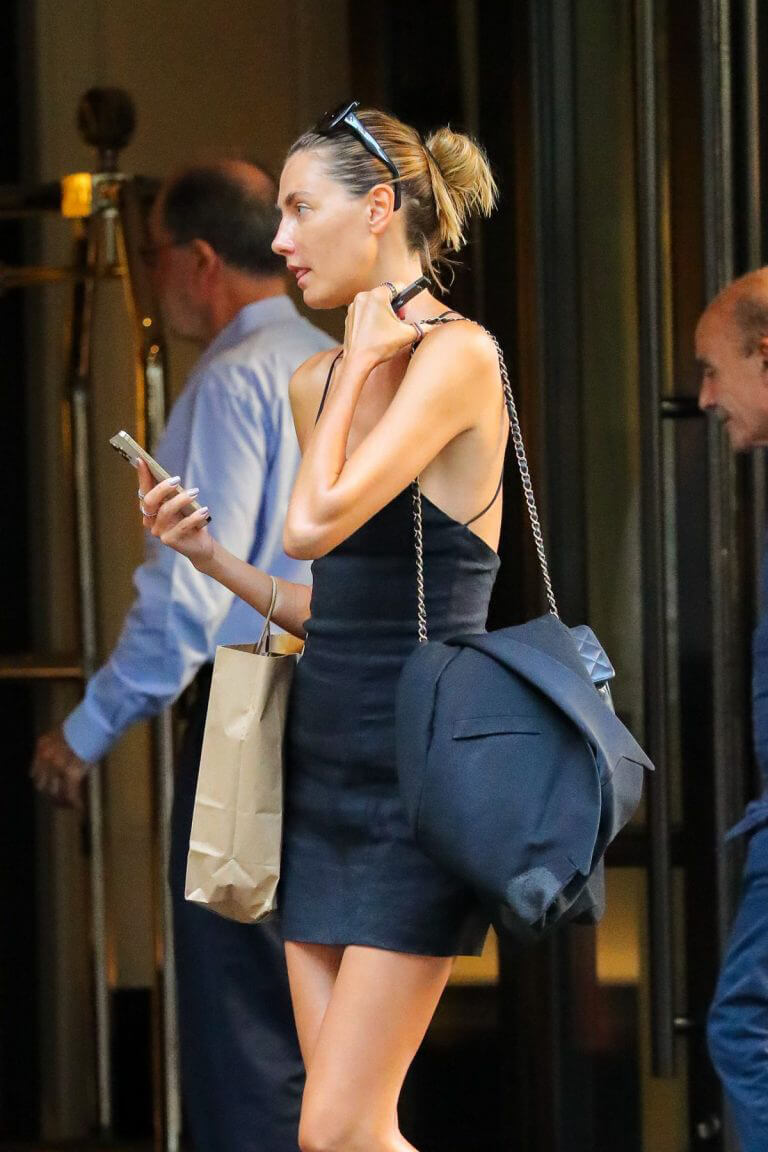 Alina Baikova in Black Dress Out and About in New York 08/03/2021 3
