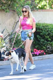 Ava Phillippe in Denim Shorts and Pink Top Out with her Dogs in Brentwood 08/03/2021 3