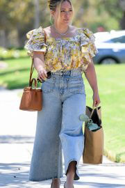 Hilary Duff in Floral Top and Blue Denim Out Shopping in Los Angeles 08/02/2021 1