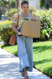Hilary Duff in Floral Top and Blue Denim Out Shopping in Los Angeles 08/02/2021 2