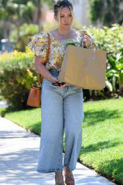 Hilary Duff in Floral Top and Blue Denim Out Shopping in Los Angeles 08/02/2021 4