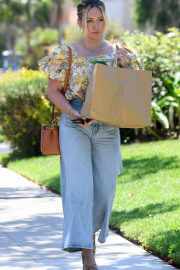 Hilary Duff in Floral Top and Blue Denim Out Shopping in Los Angeles 08/02/2021 6