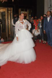 Alicia Keys Wears White Gown While Heading to Met Gala 2021 in New York 09/13/2021 1