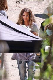 Halle Berry Filming Commercial for Sweaty Betty Workout Clothes in Malibu 09/14/2021 4