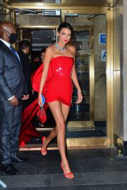 Kendall Jenner Red Hot Look for Justin Bieber's Met Gala 2021 After-Party 09/13/2021 2