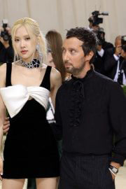 Rose with Anthony Vaccarello at 2021 Met Gala in New York 09/13/2021 3