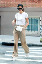Sara Sampaio in Khaki and White Outfit Day Out in New York 09/13/2021 2