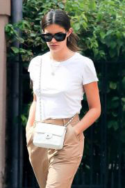 Sara Sampaio in Khaki and White Outfit Day Out in New York 09/13/2021 7