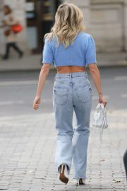 Ashley Roberts in Crochet Knitted Top and Ripped Denim at Heart Radio 09/28/2021 5